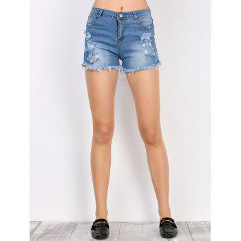 Denim Frayed Shorts with Pockets