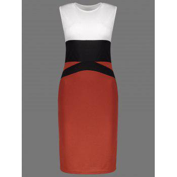 Color Block Round Collar Sheath Dress