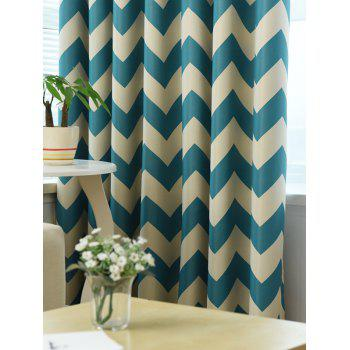 Wave Stripe Design Sun-Shading Blackout Curtain - LAKE BLUE 100*250CM