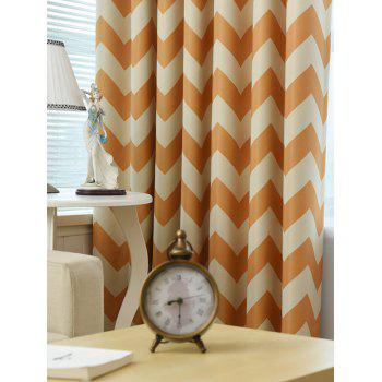 Wave Stripe Design Sun-Shading Blackout Curtain - MANDARIN MANDARIN