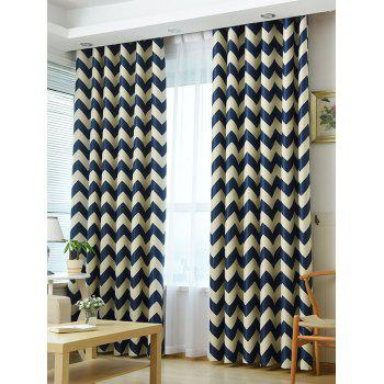 Wave Stripe Design Sun-Shading Blackout Curtain - DEEP BLUE DEEP BLUE