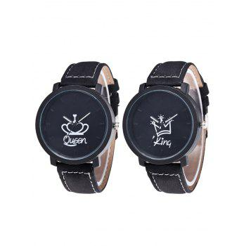 King Queen Crown Couple Watches - BLACK BLACK
