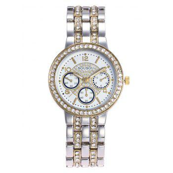 SOUSOU Steel Strap Rhinestone Watch