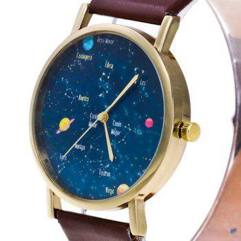 Faux Leather Constellation Watch -  BLACK