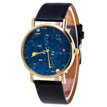 Faux Leather Constellation Watch - BLACK BLACK