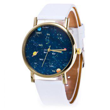 Faux Leather Constellation Watch - WHITE WHITE