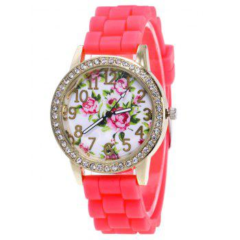 Flower Pattern Silicone Strap Watch