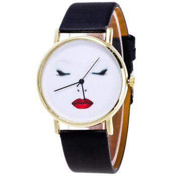 Beauty Face Faux Leather Watch
