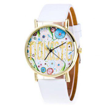 Cartoon Flower Faux Leather Watch