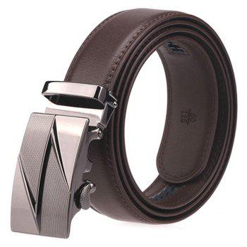 Auto Buckle Faux Leather Belt with Lightning Bulge