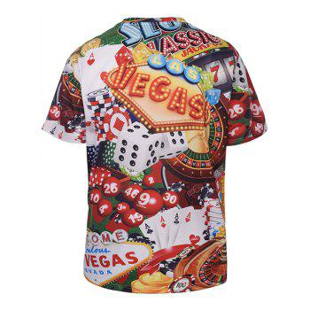 Crew Neck Gambling Print Tee - multicolorcolore 3XL
