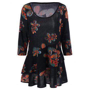 Plus Size Floral Layered T-Shirt