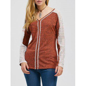 Lace Trim Heather Two Tone T-Shirt
