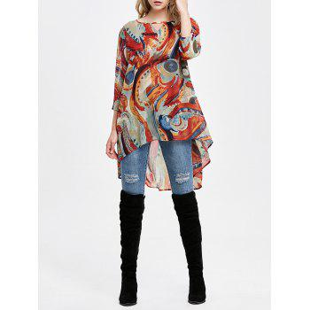 Scrawl Print High Low Hem Blouse