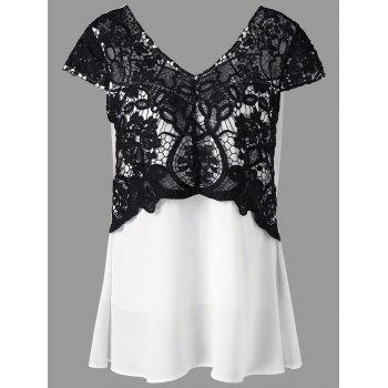Plus Size Lace Trim Cap Sleeve Blouse