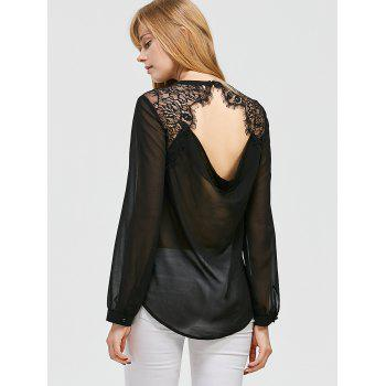 Lace Trim Open Back Curved Blouse