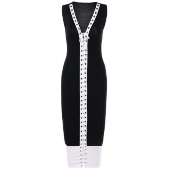 Lace Up Fitted Two Tone Dress