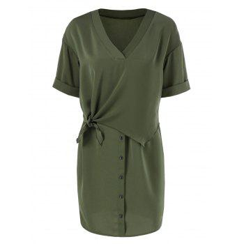 Tie Side Overlay Single Breasted Dress