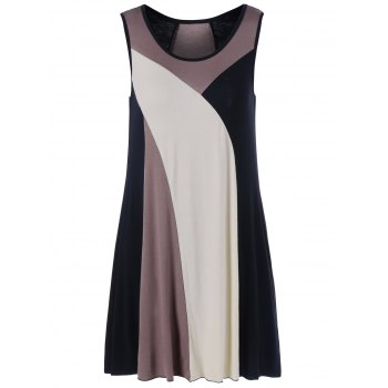 Sleeveless Color Block Mini Casual Dress Fashion