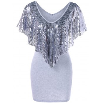 Sequined Trim Overlay Mini Dress