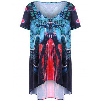 V Neck Plus Size Printed High Low Top