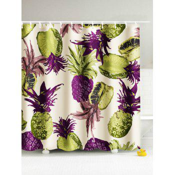 Tropical Pineapple Waterproof Fabric Shower Curtain