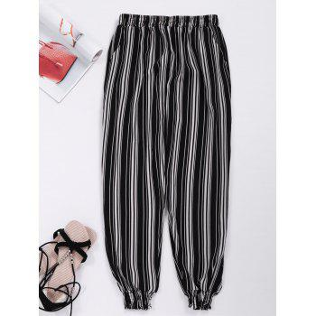 Striped Elastic Waist Cropped Pants with Pockets