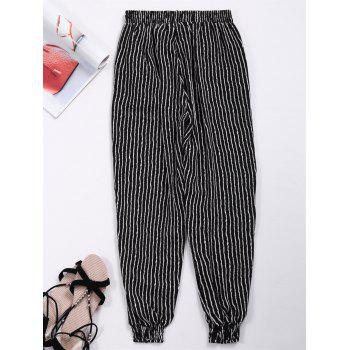 Striped Elastic Waist Pants with Pockets
