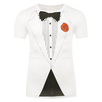 Bow Tie and Flower Printed T-Shirt - WHITE 2XL