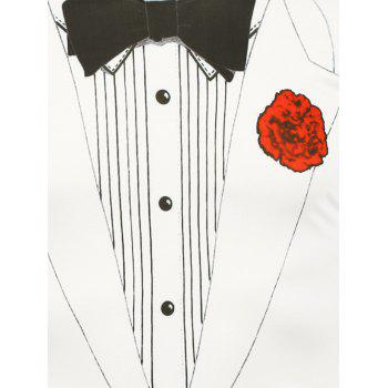 Bow Tie and Flower Printed T-Shirt - 2XL 2XL