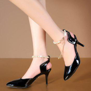 Pointed Toe Faux Pearls Pumps - BLACK 37