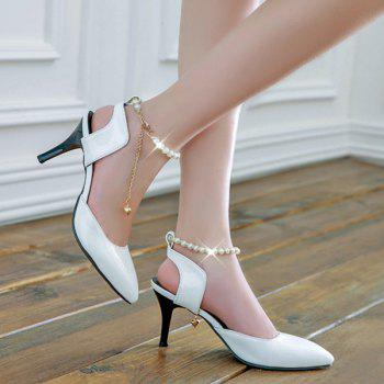 Pointed Toe Faux Pearls Pumps