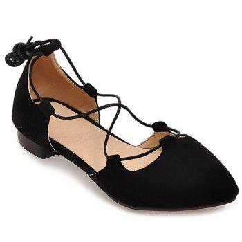 Suede Tie Up Flat Shoes