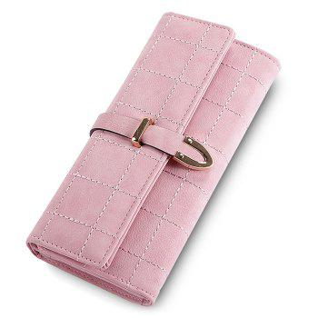 Metal and Stitching Detail Clutch Wallet - PINK PINK