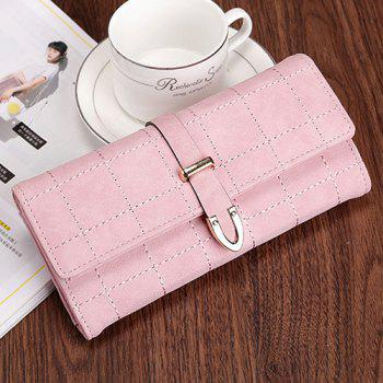 Metal and Stitching Detail Clutch Wallet -  PINK