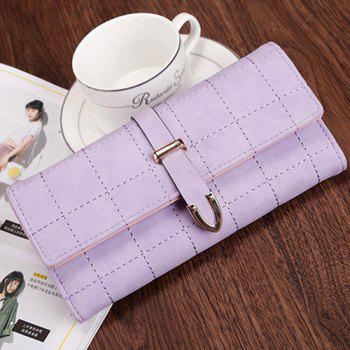 Metal and Stitching Detail Clutch Wallet -  LIGHT PURPLE