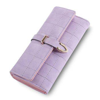 Metal and Stitching Detail Clutch Wallet - LIGHT PURPLE LIGHT PURPLE