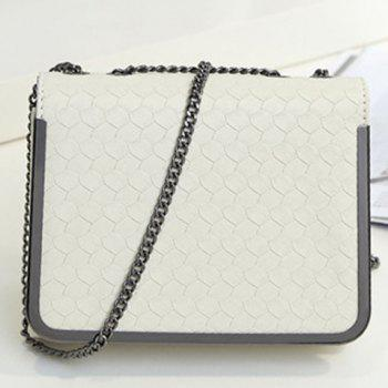 Metal Trimmed Chains  Crossbody Bag - WHITE