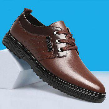 Stitching PU Leather Casual Shoes - BROWN 42