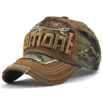 Camo Lettres Broderie Spliced ​​Baseball Hat