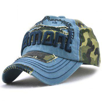 Camo Letters Embroidery Spliced Baseball Hat