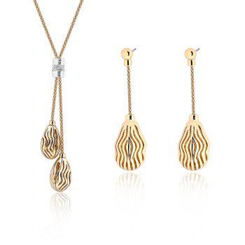 Ripple Hollow Out Teardrop Necklace and Earrings
