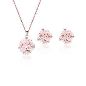 Rhinestones Hydrangea Shape Necklace and Earrings