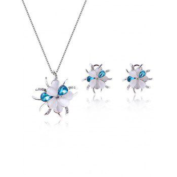 Flower Shape Rhinestone Fake Gem Jewelry Set