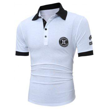 Patch Design Half Button Polo Shirt