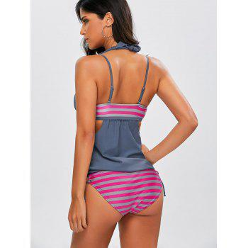 Striped Blouson Backless Tankini - GRAY S