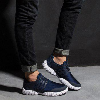 Faux Leather Insert Breathable Athletic Shoes - BLUE 44