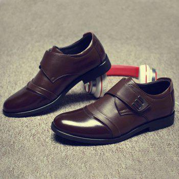 Faux Leather Metal Formal Shoes - BROWN 41