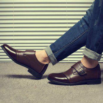 Faux Leather Metal Formal Shoes - BROWN 43