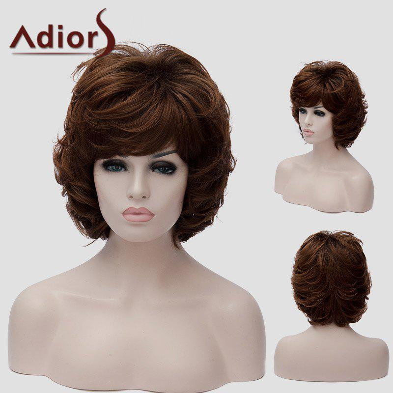 Adiors Hair Fluffy Short Curly Layered Synthetic Synthetic Wig - BROWN